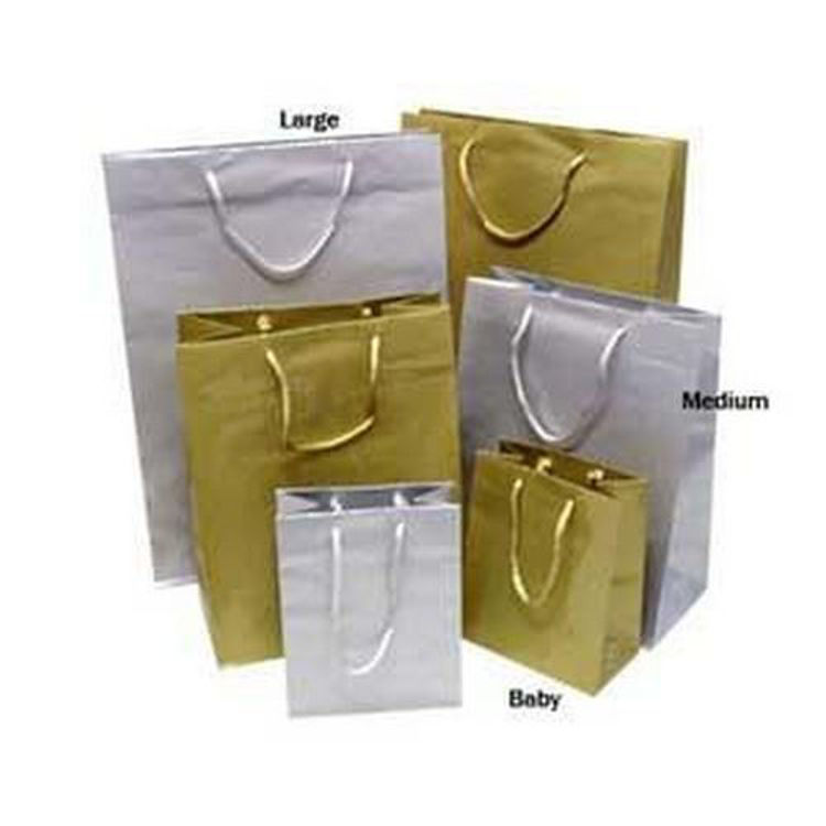 Picture of Metallic Laminated Paper Bags with Rope Handles - Baby